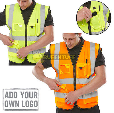 Hi Vis Viz Vest High Visibility Waistcoat with Phone & ID Pockets Yellow Orange