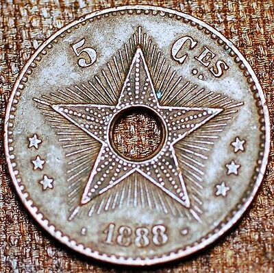 Africa. Congo Free States. 5 Centimes 1888 . Copper Coin. KM#3