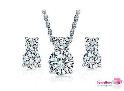White Gold Plated Double 8mm Crystal Pendant Necklace Earrings Set Womens Silver