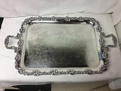 Superb Quality Silverplate Tea / Service Tray Grape Pattern