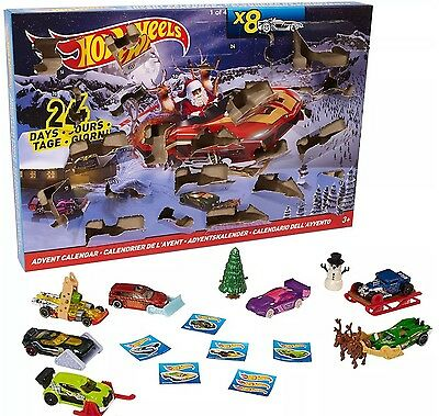 Hot Wheels Christmas Advent Calendar 8 Cars And 16 Accessories Fast Dispatch