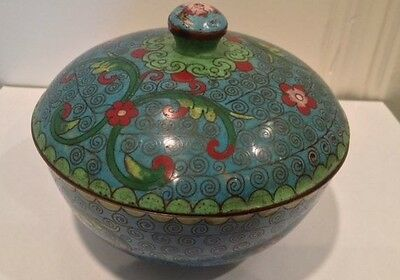"""Antique Chinese Cloisonne Blue Bowl with Lid 5"""" Flowers and Swirls"""