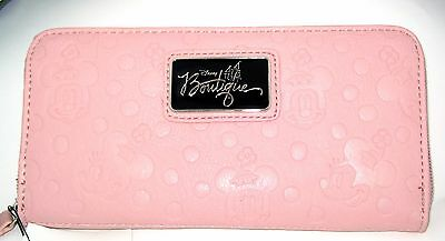 Walt Disney Boutique Park Authentic Wallet✿Minnie Mouse Embossed Pink Clutch NEW