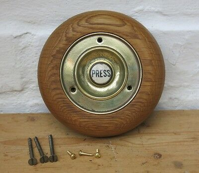 Vintage BRASS & PORCELAIN Bell Push 'PRESS' With Wooden Pattress