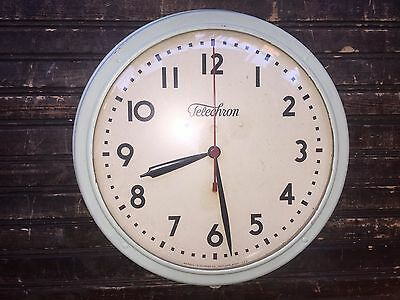 Vintage Telechron School Electric Round Wall Clock Model 1H912