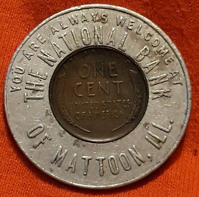 1953-D National Bank of Mattoon Illinois Encased Lincoln Cent Token