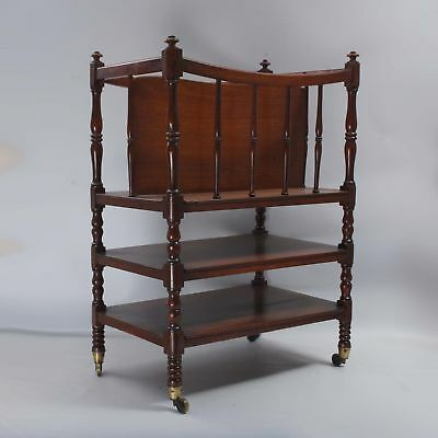 English Mahogany canterbury music rack turned legs brass castors Magazine Stand