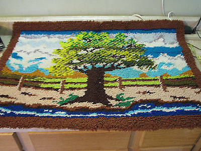 COMPLETED Finished LATCH HOOK RUG Vtg FARM/TREES/FENCE ART Hippie WALL HANGING