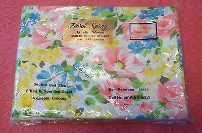 Peterson Linco 100% Cotton Floral Spray Double Fitted Bottom Sheet NiP