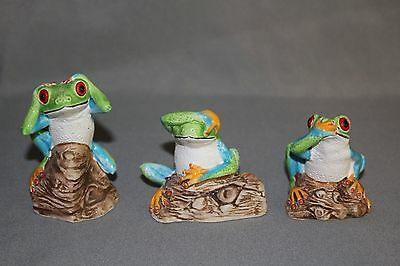 Tree Frogs - COAD Peru - Ceramic Hear See Speak No Evil 3""