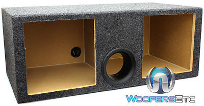 """Dual 12"""" Square Kickers Mdf Box Subwoofers Bass Speakers Tube Ported Enclosure"""