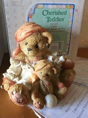 """Cherished Teddies #141321 Carrie """"the Future 'beareth' All Things """""""