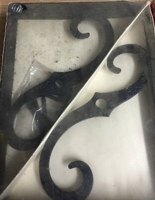 "Ornamental Forged Iron Brackets 8""x6"" Black Wrought Iron"