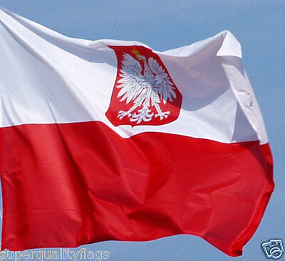 NEW 3x5 ft POLAND WITH COAT OF ARMS EAGLE FLAG