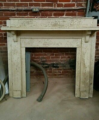 Antique Wooden Fireplace Mantle - White Oak