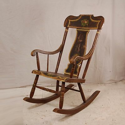 Vintage/Antique Hitchcock style painted rocking chair flowers Rocker