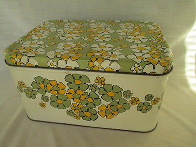 Vintage Retro Kitchen Metal MID CENTURY Bread Box AVACADO GREEN Daisy Flowers