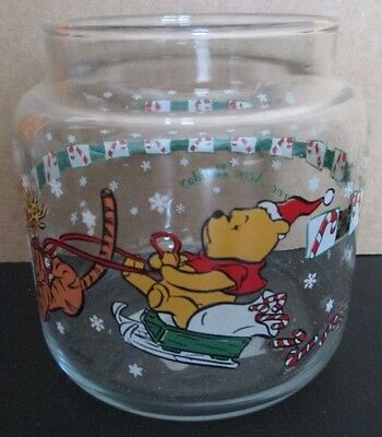 """Disney Winnie the Pooh Christmas """"A 100 Acre Holiday"""" Clear Glass Candle Holder"""