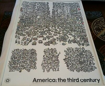 Constantino Nivola The City 1976 Bicentennial Framed Poster by Mobil Oil 36 x 25