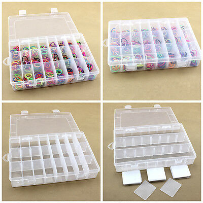 Adjustable 15/24 Grid Plastic Jewelry Bead Crafts Case Nail Tips Storage Box Hot