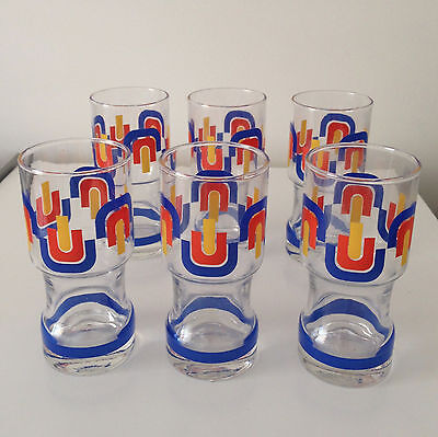 Vintage 1960'S Pop Art Set Of 6 Collectable Drinking Glasses