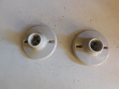 Lot of 2 Vintage LEVITON PAULDING Ceramic Porcelain Ceiling Light Fixture Socket