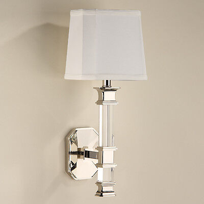 Elegant  Solid Crystal & Polished Nickel Finish Electric Sconce,19.5''H.