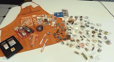Lot of 100 - HOME DEPOT Pinbacks PINS Kids Apron + giveaways - all different