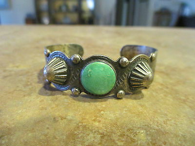 Very OLD Fred Harvey Sterling Silver Turquoise THUNDERBIRD Snake Dome Bracelet