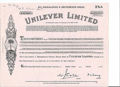 Unilever Limited stock certificate 1961 Famous consumer good company Palm Tree