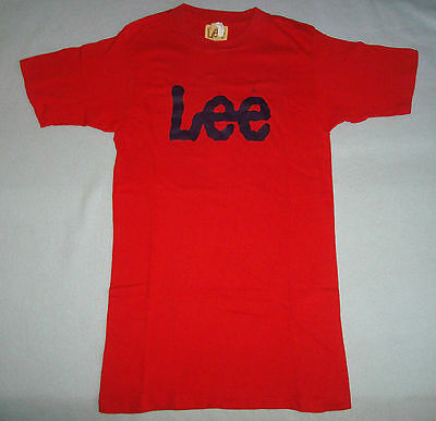 VINTAGE 1970s 80s MR LEE T SHIRT Red Small S Soft Made in USA Jeans Hipster NICE