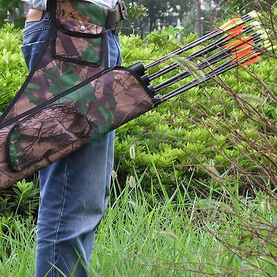 Camouflage Outdoor Hunting Archery 4 Tubes Holder bag Bow Arrow Belt Quiver