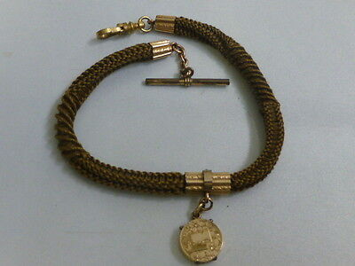 Vintage Victorian Blonde Woven Hair Watch Chain W/ 10K Photo Fob