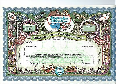 Ringing Brothers Barnum & Bailey specimen stock certificate