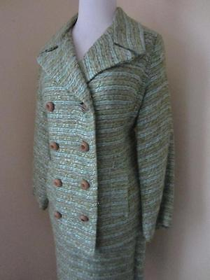 Vintage 50's Blue & Green Boucle Tweed Skirt Suit & Jacket Set Heavyweight S M