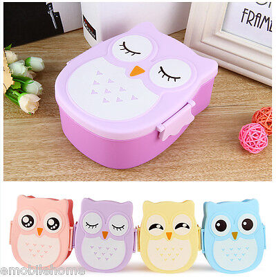 Cartoon Owl Lunch Box Food Fruit Plastic Storage Container Bento Microwave Oven.