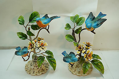 Vintage Italian Tole Statues Blue Birds On Branches Floral Toleware Italy Lot 2