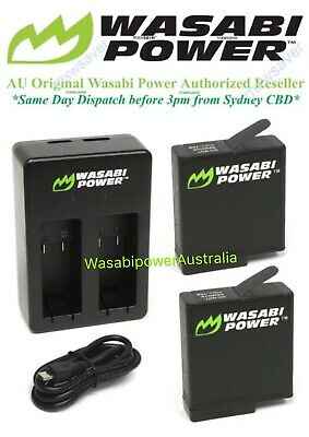 Wasabi Power 1220mAh Battery x 2 & Dual USB Charger for GoPro HERO6, HERO5 Black