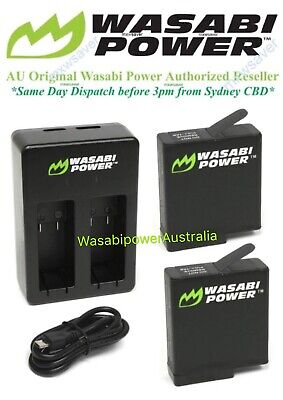 Wasabi Power 1220mAh Battery(v03) x 2 & Dual USB Charger for GoPro HERO6, HERO5