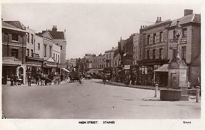 High Street Staines RP old pc used 1922 WHS Kingsway