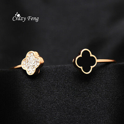 Women's 18K Gold Plated Clover Crystal Cuff Bangles Bracelets Fashion Jewelry