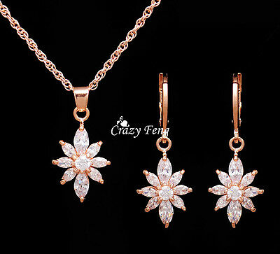 New 18K Gold Plated Zircon Crystal Pendant Necklace Earrings Bridal Jewelry Sets