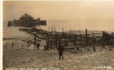 Worthing Pier Wrecked Mar 23 1913 unused RP old pc Otto Brown