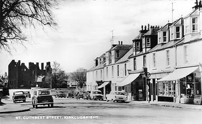 St Cuthbert Street Kirkcudbright motor car unused RP old postcard National serie