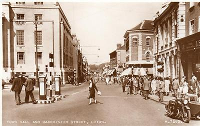 Town Hall Manchester Street Luton Motorcycle RP old pc Used 1956 Valentines