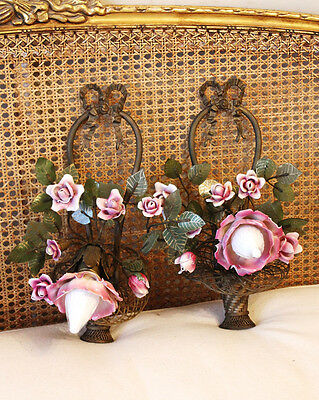 The Best! Pair Antique French Bronze & Porcelain Roses Flower Basket Wall Sconce • CAD $4,126.50