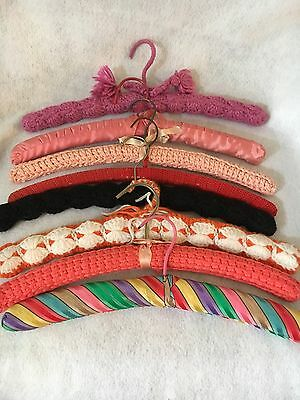 Lot of 8 Vintage Crochet Knitted Mid-Century Clothes Hangers