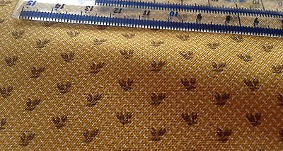 Mustard With Brown Leaves cotton Fabric. Miniature Curtains Dolls House