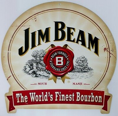 JIM BEAM THE WORLD FINEST BOURBON, ALL WEATHER  Metal tin Sign