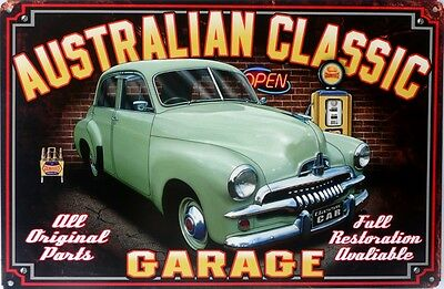 FJ HOLDEN , AUSTRALIAN GOLDEN FLEECE CLASSIC GARAGE Metal tin Sign